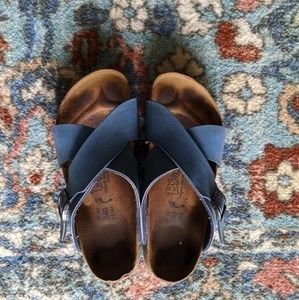 Blue leather cross strap Birkenstocks